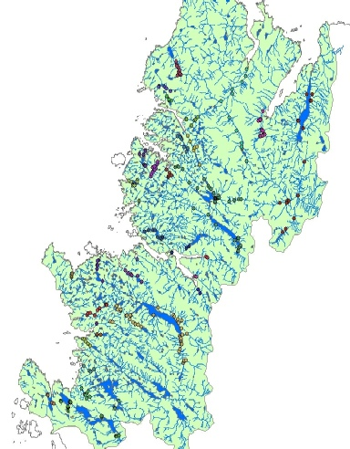 Electrofishing sites by river catchment across the Trust area